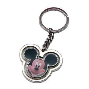 Mickey Mouse Head Spinning Pewter Keychain Office