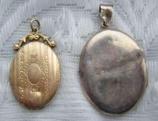 ANTIQUE LOCKET PENDANTS SILVER & GOLD BACK & FRONT EDWARDIAN EARLY
