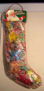 Vintage 1960s LARGE XMAS STOCKING filled with dimestore toys SPACESHIP