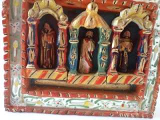 WOOD RETABLO Mexican wood carving folk art altar 22 tall