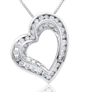 Loving heart charm pendant with 1.01cttw channel set and