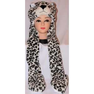 Plush Cheetah Animal Hat with Mittens Attached Everything