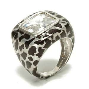 Ladies Leopard Animal Print Sterling Silver Fashion Ring, 9 Jewelry