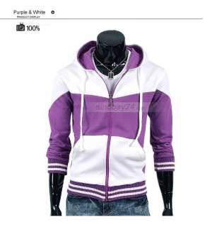 C71015 Mens Stylish Cotton Blends Long Sleeve Hoody Sweats Coat Two