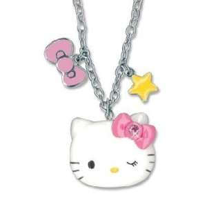 Sanrio Hello Kitty Bow & Star Charm Necklace 16 18 Inch