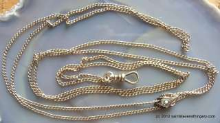 Antique Victorian Gold 27″ Watch Chain With Jeweled Slide Necklace