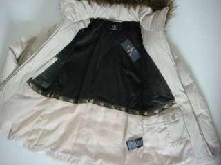 New Khaki Stone Faux Fur hooded Heavy Down Coat Jacket Womens S
