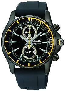 Seiko SNN249P1 Mens Neo Sport Black Dial Chronograph Watch SNN249