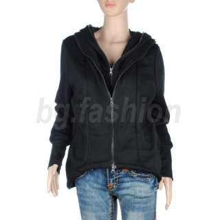 Fashion Womens Double zip Hoodies Sweatshirt Jacket Coat Outwear Black