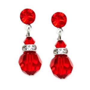 Red 8mm Swarovski Crystal Drop Earrings    Made In USA Jewelry