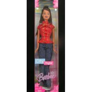 2005 City Style Barbie Doll  Asian Model  Red top/Blue Jeans