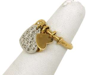 CHRISTIAN DIOR SIGNED 18K GOLD & DIAMOND HEART CHARM RING NWT BOX