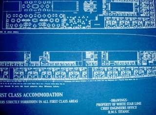 White Star Line TITANIC 1st Class Only Blueprint Plan