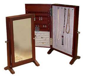 DRESSER SWIVEL ARMOIRE STAND CHEVAL MIRROR EARRING JEWELRY BOX CHEST