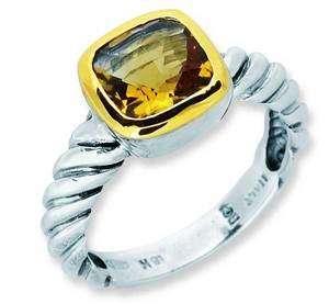 Phillip Gabriel Silver Gold Citrine Ladies Signet Ring