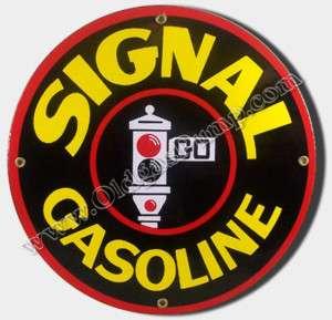 SIGNAL GASOLINE & OIL 12 PORCELAIN GAS PUMP SIGN