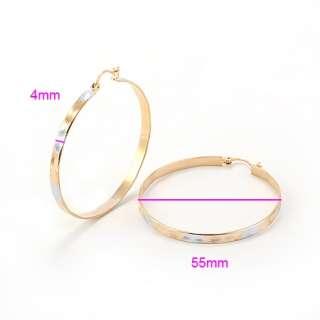 STUNNING 9K SOLID Gold Filled 2 tone Womens Hoop Earrings E158