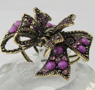 swarovski crystal purple gems bow bronze hair claw clip clamp girl