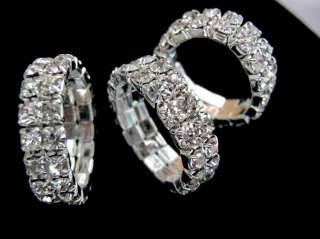 NEW 24PCS Stretch 2Rows Clear Austrian Rhinestone Rings