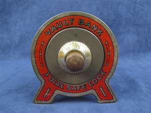 Vintage 1930s Tin 3 Dial Safe Lock Coin Vault Bank