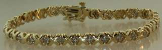 90ct 11.2g diamond tennis bracelet hugs kisses vintage estate