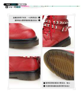 Ladies Red Punk Rock Studded Belt Lace Up Military Combat Ankle Boots