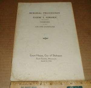 Eugene E Komarek Shakopee Scott County MN 1946 Memorial rare vintage