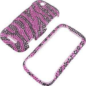Case for Motorola CLIQ, Zebra Stripes (Hot Pink/Black) Full Diamond