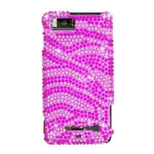 Sparkling Pink with Hot Pink Zebra Strip Full Diamond Rhinestone Snap