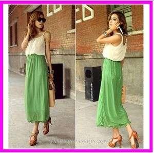 Stunning Chic Lady Elegant Contrast Maxi Full Length Beach Dress Green