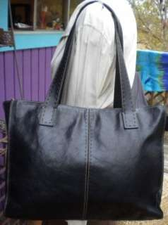 Fossil Sedona Large Black Leather Tote Satchel Purse EXCELLENT ZB9010