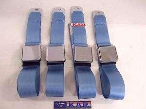 CLASSIC MUSTANG POWDER BLUE SEAT BELTS; CHROME FLIP BUCKLE. 4