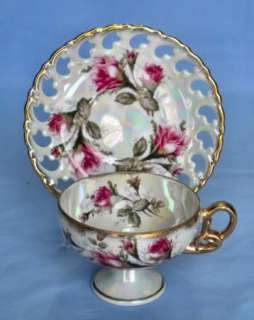 Royal Sealy Iridescent Roses Fine China Cup and Saucer