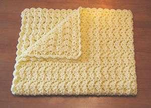 New Handmade Pastel Yellow Crochet Baby Blanket Afghan