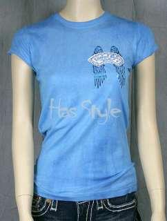 Laguna Beach Jeans Blue Fleur De Lis T shirt crystals swarovski stone