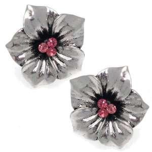 Scherzo Silver Pink Crystal Clip On Earrings Jewelry