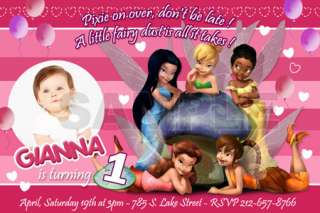 TINKERBELL CUSTOM BIRTHDAY PARTY INVITATION PHOTO CARDS