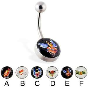 Tattoo style logo belly ring, B: Jewelry