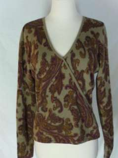 Daniel Bishop Paisley CASHMERE Sweater M Tan Purple Green Gold