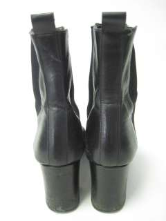 AUTH GUCCI Black Leather Ankle Boots Size 6.5