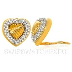 David Yurman Estate 18K Yellow Gold Pave Diamond Cable Heart Earrings