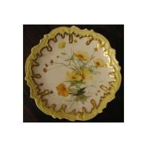 France Hand Painted Decorative Plate Yellow Flowers