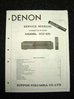 Original Denon DCD 620 Service Manual |