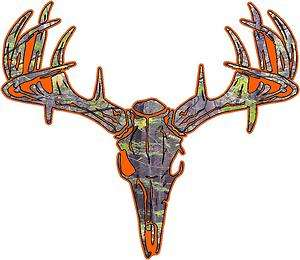 Camo Deer Skull S4 Vinyl Sticker Decal Hunt Whitetail Buck L