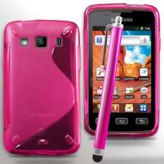 Pink Wave Gel Case For Samsung Galaxy S5690 Xcover & Stylus + Screen