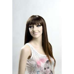 Female Mannequin Long Brown Straight Wig with Bangs