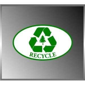 Recycle Green Logo Tree Vinyl Euro Decal Bumper Sticker 3 X 5