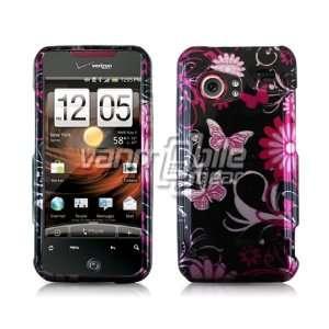 VMG Black Pink Butterflies & Flowers Design Hard 2 Pc Snap