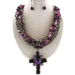 Extra Large Purple Cross Layered Bead Statement Pendant Necklace