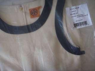 AUTH NEW $325 Tory Burch Addis Contrast Trim Sleeveless A line Dress